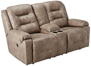 Ashley Furniture Signature Design - Rotation Recliner Loveseat with Console - Power Reclining Couch - Smoke Gray Brown