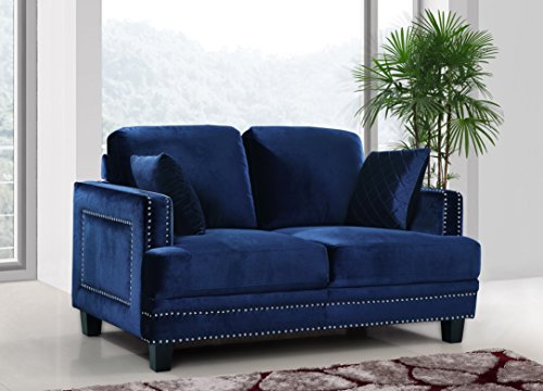 Meridian Furniture 655Navy-L Ferrara Velvet Upholstered Loveseat with Square Arms, Silver Nailhead Trim, and Custom Solid Wood Legs, Navy