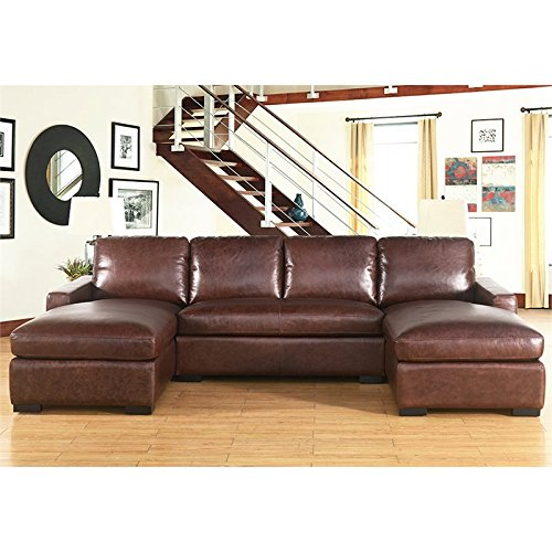 Abbyson Living Eiffel 3 Piece Leather Sectional in Brown