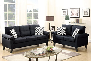2Pcs Modern Black Linen-Like Fabric Sofa Loveseat Set with Four Accent Pillows