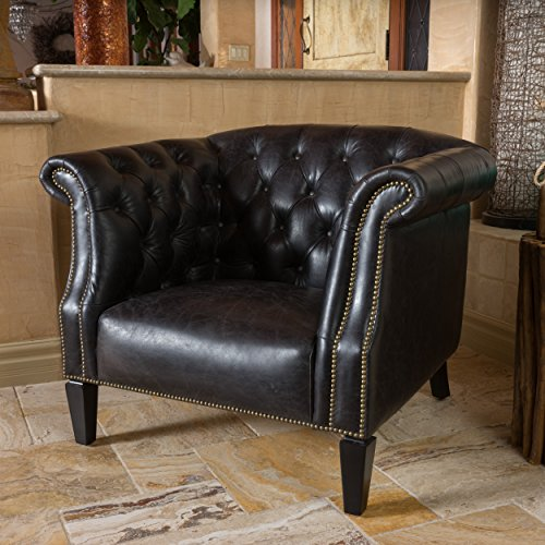 Christopher Knight Home 296151 Caleb Tufted Top Grain Leather Arm Chair, Antique Slate