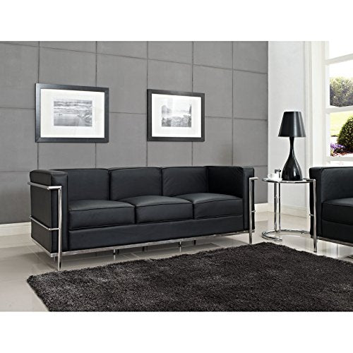 Modway Charles Leather Petite Sofa in Black
