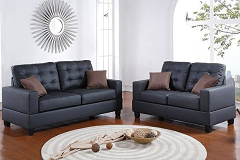2Pcs Modern Black Faux Leather Sofa Loveseat with Accent Tufting and Light Stitching