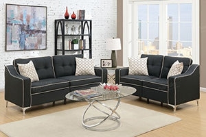 Advanced Contemperary Linen-Like 2 Piece Sofa and Loveseat Set, Black