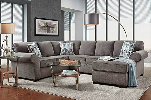 2-Pc Chaise Sectional Set in Charisma Smoke