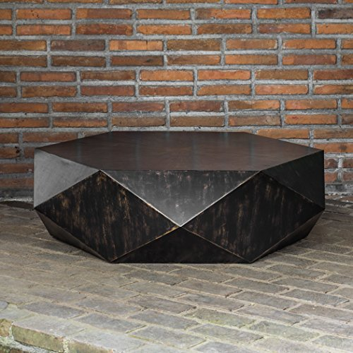 Faceted Large Round Wood Coffee Table | Modern Geometric Block Solid