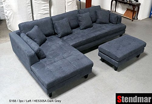 3pc Euro Design Dark Gray Microfiber Sectional Sofa Set S168LDG
