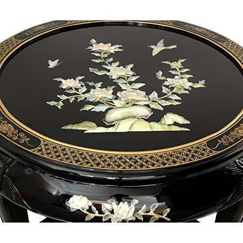 Oriental Furniture Black Lacquer Mother of Pearl Round Coffee Table w/ Four Stools