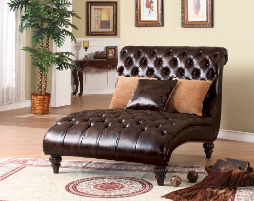 ACME 15035 Anondale Two-Tone Polyurethane Chaise Lounger with Pillow, Espresso Finish