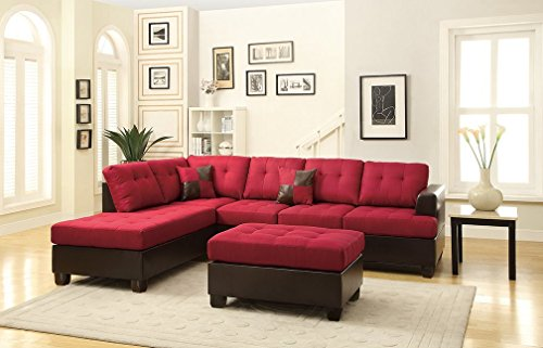 3Pcs Modern Carmine Linen-Like Fabric and Espresso Faux Leather Reversible Sectional Sofa Chaise Ottoman Set with Accent Tuft Seat and Back