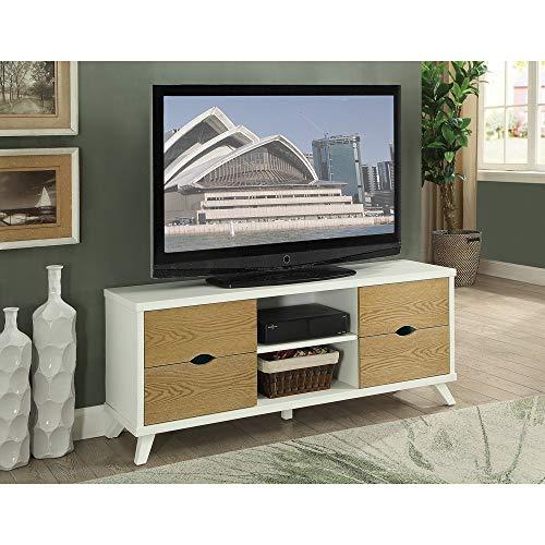 Benzara BM166691 Wooden TV Stand with 4 Drawers and 2 Shelves, Brown/White