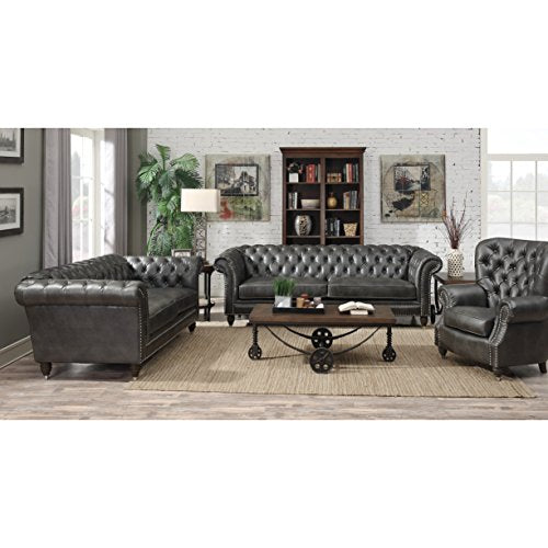 Emerald Home Capone Charcoal Sofa with Faux Leather Upholstery, Nailhead Trim, And Rolled Arms