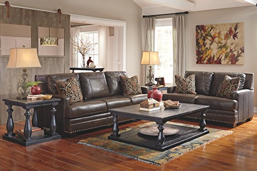 Ashley Furniture Signature Design - Corvan Contemporary Faux Leather Queen Size Sleeper Sofa - Antique
