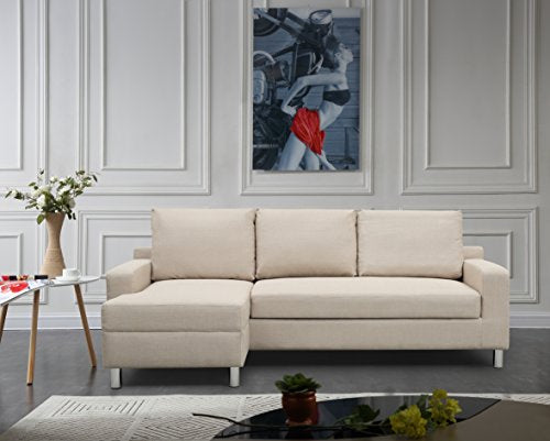 "Container Furniture Direct S0114-L Amelie Linen Upholstered Contemporary Modern Left-Sided Sectional Sofa Bed, 83.9"", Beige"