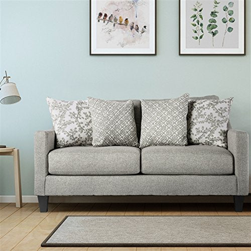 Furniture of America Shila Stain Resistant Loveseat in Light Grey