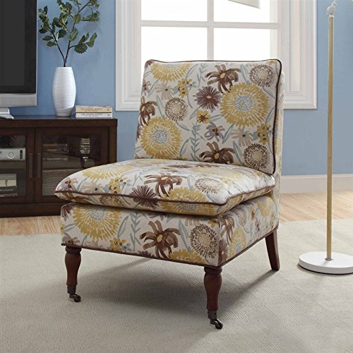 Linon Peggy Floral Pillow Top Slipper Chair