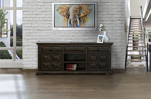 Rustic Distressed Solid Wood 72 Inch Tv Stand Entertainment Console - Black