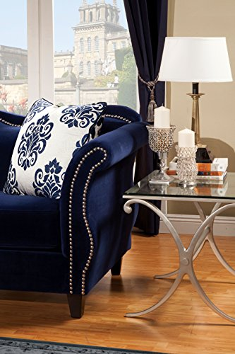Furniture of America Athena Glamorous Loveseat, Royal Blue
