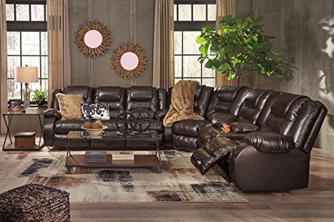 Vacherie Contemporary Chocolate Color Faux Leather Reclining Sectional Sofa and Loveseat Set