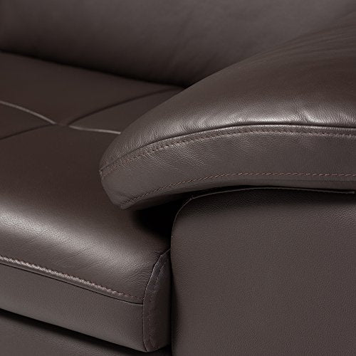 Baxton Studio Abriana 2-Piece Dark-Brown Leather Sofa Sectional