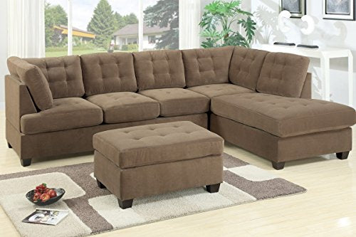 3Pcs Truffle Waffle Suede Fabric Upholstered Reversible Sectional Sofa Set with Ottoman