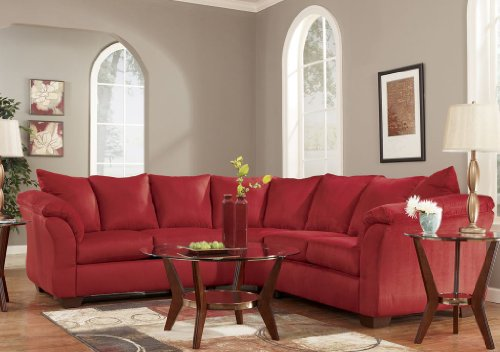 Red Upholstery Fabric Sectional by Ashley Furniture