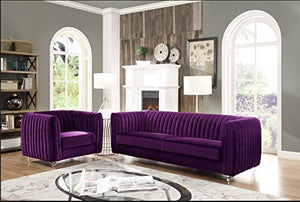 Iconic Home Kent Elegant Velvet Modern Contemporary Plush Cushion Seat Round Acrylic Feet Sofa, Purple