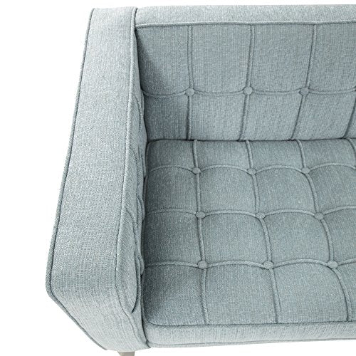 Armen Living LC10103SB Roxbury Sofa in Spa Blue Fabric and Black Wood Finish