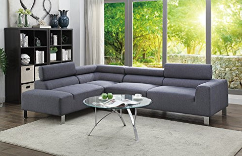 Benzara BM166764 Modish 2 Piece Sectional Sofa, Gray
