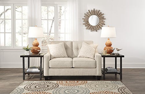 Aldie Nuvella Contemporary Sand Color Fabric Loveseat