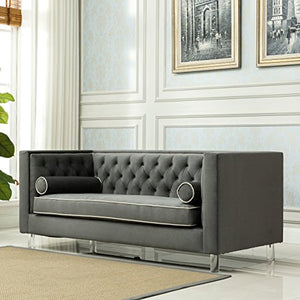 Christies Home Living Victoria Collection Contemporary Polyester Velvet Fabric Upholstered Button Tufted Living Room Tuxedo Sofa with 2 Lumbar Pillows & Clear Acrylic Legs, Grey