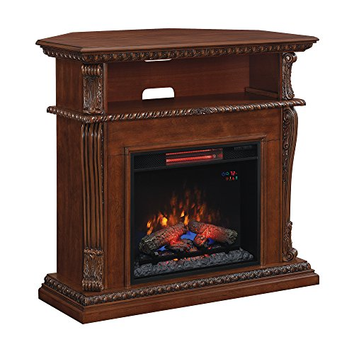 "Classic Flame 23DE1447-W502 Corinth Wall or Corner TV Stand for TVs up to 47"", Burnished Walnut (electric fireplace insert included)"