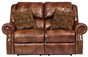 Ashley Furniture Signature Design - Walworth Reclining Loveseat - Powered Recliner - Auburn