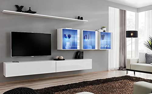 Lumina 17 Modern media furniture/Contemporary wall units with LED Lights/Color (White & White)