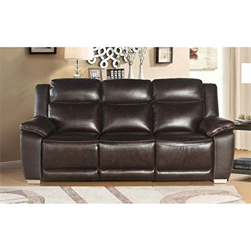 Abbyson Living Graham Top Grain Leather Reclining Sofa in Brown