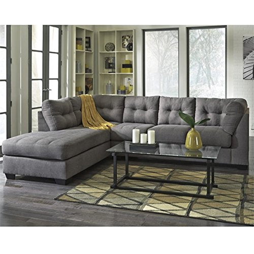Pemberly Row Microfiber Left Facing Sectional in Charcoal