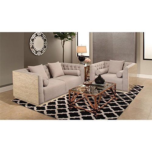 Abbyson Living Betty 2 Piece Wood Shell Sofa Set in Beige