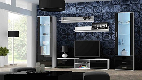 Meble Furniture & Rugs SOHO 4 Modern Wall Unit with 16 Colors LED Lights (White/Black)