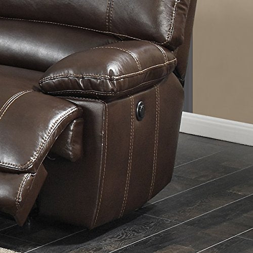 AC Pacific Olivia Transitional 6-Piece Sectional with 2 Power 1 Armless Recliner and Charging Storage Console Table, Holder, Dark Brown