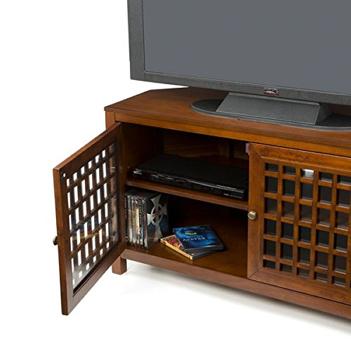 "42"" TV Stand with Walnut Finish Constructed of Assorted Hardwoods Tempered Glass and MDF 2 Cabinets and 4 Interior Shelves Included"