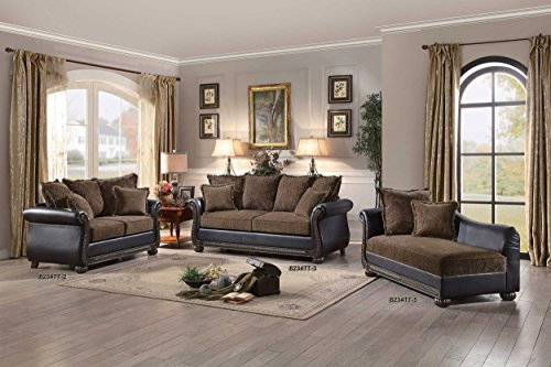 Homelegance Grand Isle Traditional Style Vinyl Sofa, Brown
