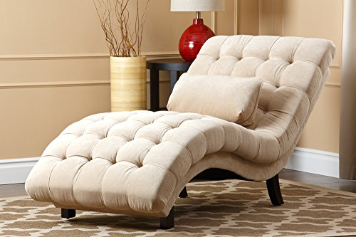 Abbyson Carmen Cream Fabric Chaise