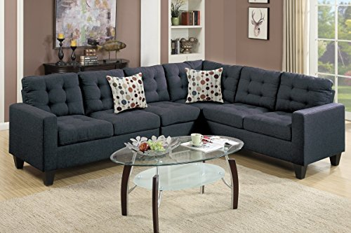 Advanced Modern Black Linen-Like Fabric Reversible Sectional Sofa Set with tuft back and 2 accent pillows