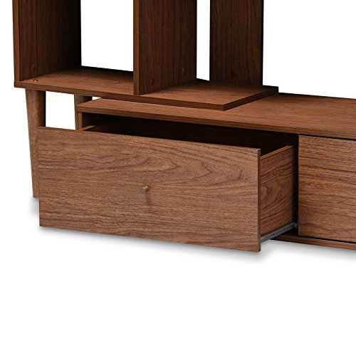Liquid Pack Solutions Desiner & Stylish & Modern Entertainment Center Made of MDF & Solid + Manufactured Wood With Walnut Species In Walnut Color With 2 Drawers & 8 Shelves