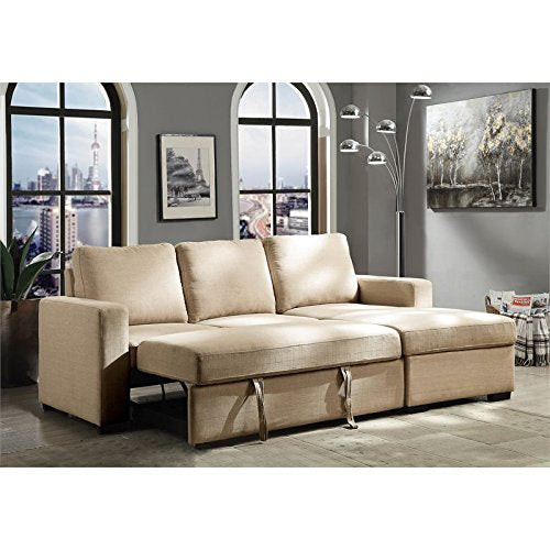 Furniture of America Rona Linen Sleeper Sectional in Beige