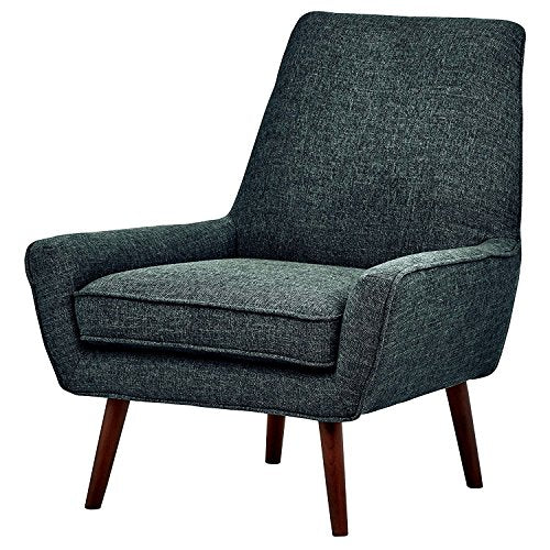Low Arm Chair Heay Duty Wooden Frame Blue Fabric Padded Cushion Classic Comfy Large Living Room Office Guest Seat