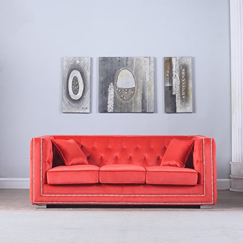 Divano Roma Furniture Modern Tufted Velvet Fabric Sofa with Nailhead Trim (Red)