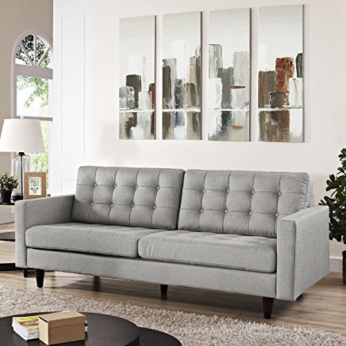 Modway Empress Mid-Century Modern Upholstered Fabric Sofa In Light Gray