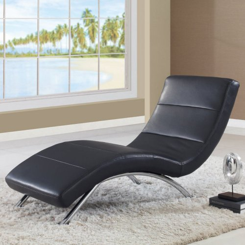 Global Furniture Ultra Bonded Leather/Metal Chaise Lounge with Black/Chrome Legs