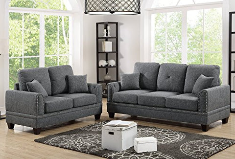 2Pcs Modern Ash Black Cotton Blended Fabric Sofa Loveseat Set with Four Accent Pillows